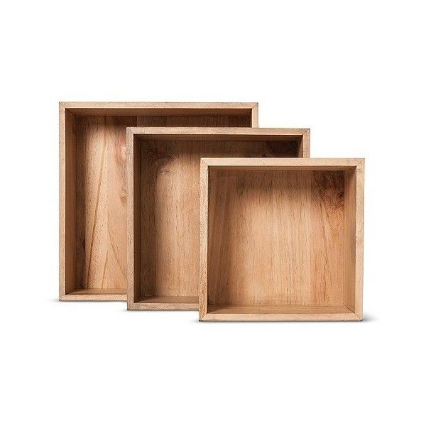 real wood square set 40 liked on polyvore featuring home home decor small item storage medium clear square wooden box wooden home decor wooden
