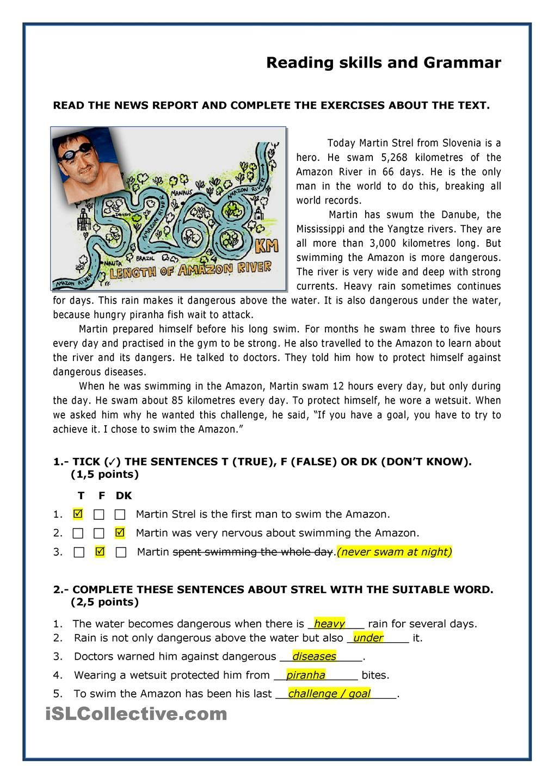 Martin Strel Swam The Amazon River Reading Comprehension Reading Comprehension Worksheets English Reading [ 1440 x 1018 Pixel ]