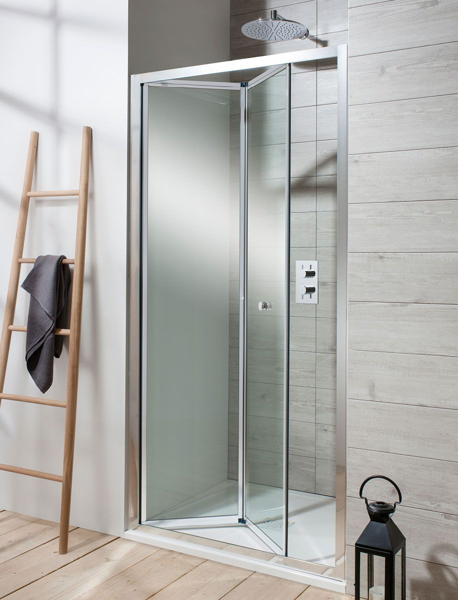 Bifold shower doors probably save the most space as they neatly fold in on themselves