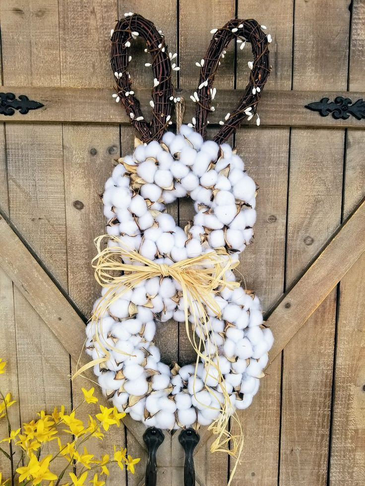 Limited Supply Cotton Easter Bunny wreath, Easter Front door wreath ...