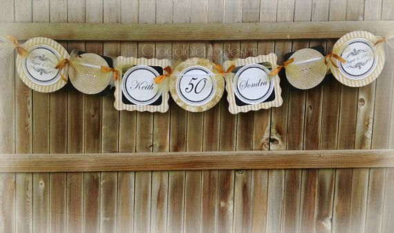 50th wedding anniversary signs : Th wedding anniversary banner gold and by chocolatetulipdesign