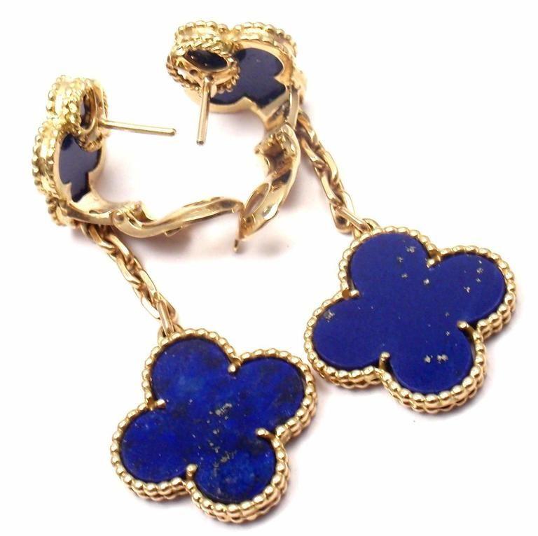 Van Cleef Arpels Lapis Lazuli Long Magic Alhambra Gold Earrings 7