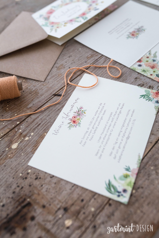 Hochzeitspapeterie Hochzeitseinladung Sommer Wilde Blumen