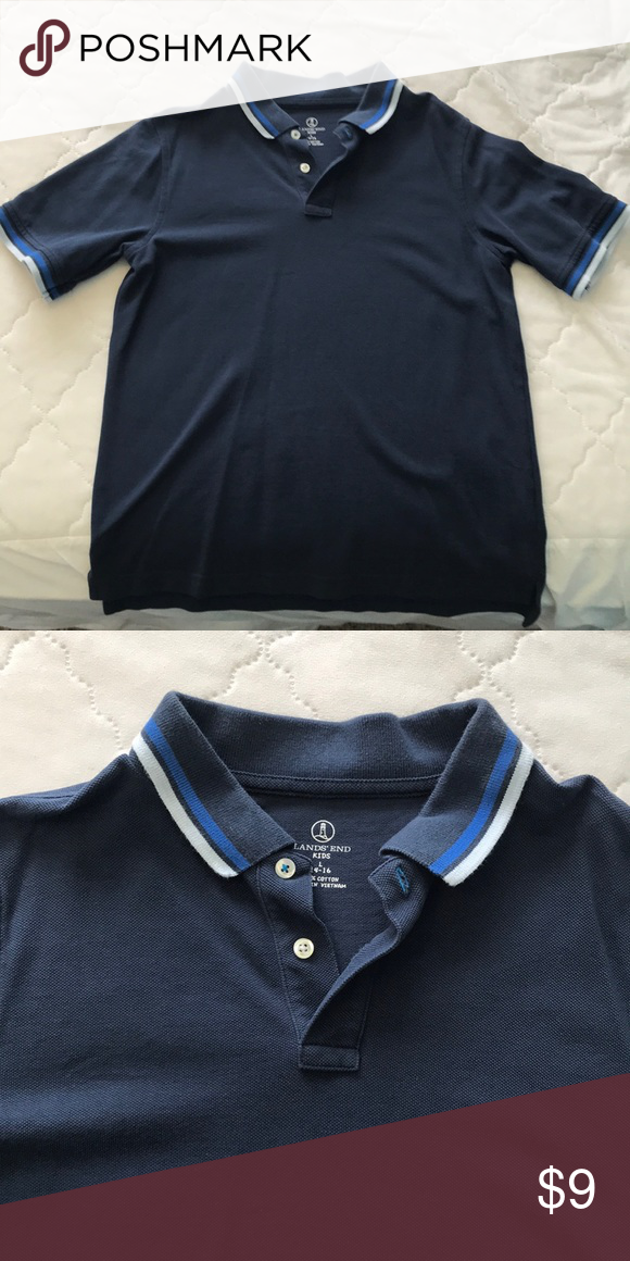 c873f2281d Lands End Boys Polo Shirt navy blue with white and light blue stripes on  collar and ends of arms. two buttons on top. 100% cotton material Lands'  End Shirts ...