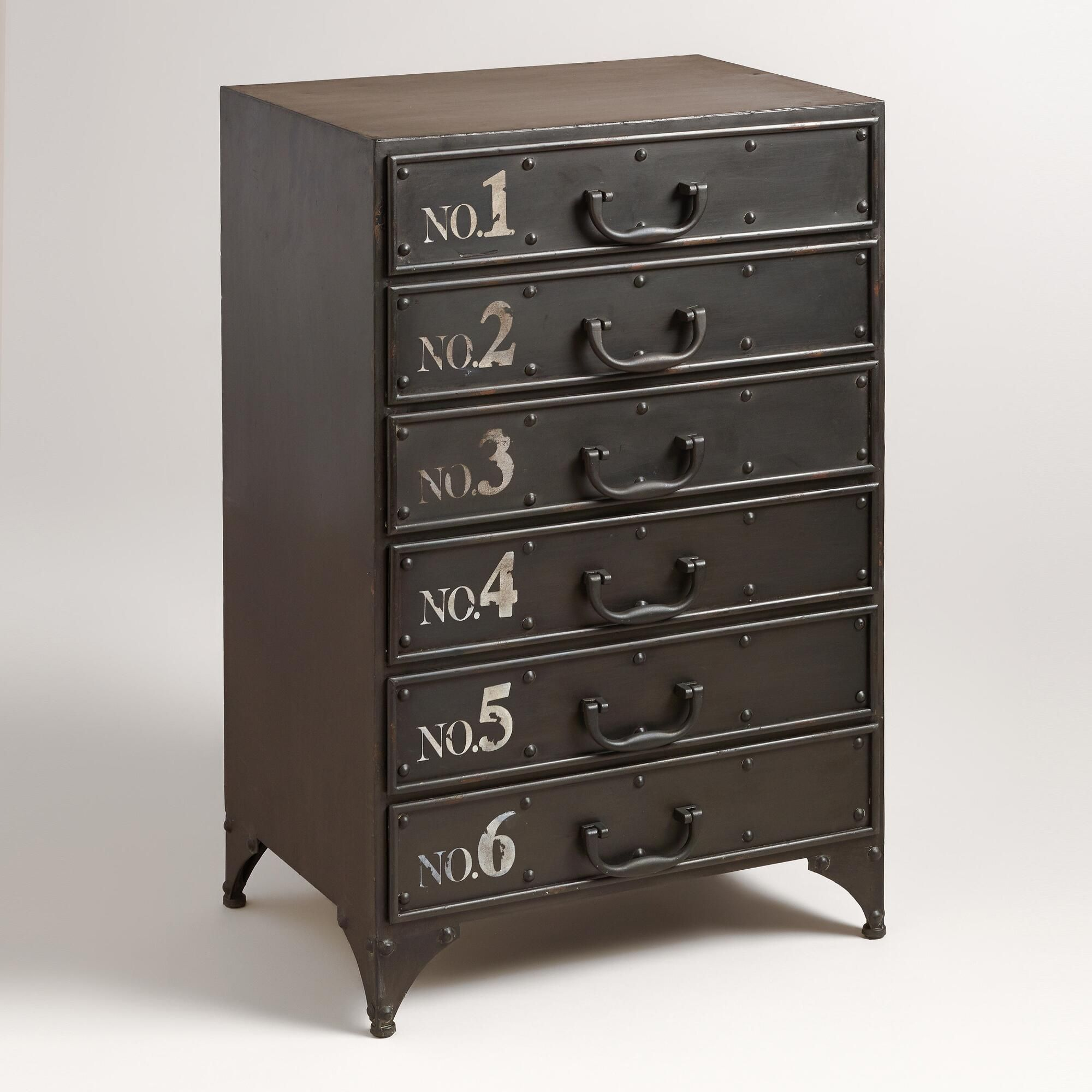 Featuring six drawers with white painted numbers, metal drawer pulls ...