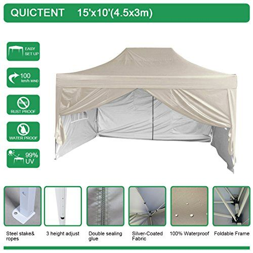 Quictent Silvox Waterproof 10x15 Ez Pop Up Canopy Commercial Gazebo Party Tent Beige Style Removable Sides With Roller Bag Read More Tent Party Tent Gazebo