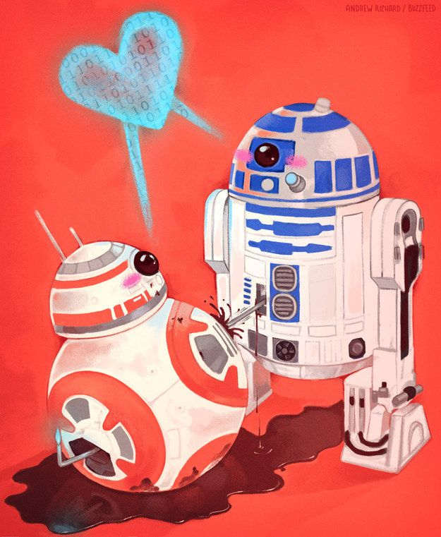 """""""BB-8 and Artoo make a love connection!"""" 