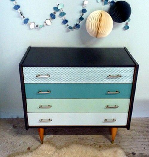 commode en d grad de bleu vert victor meubles et mobilier vintage restaur relook design. Black Bedroom Furniture Sets. Home Design Ideas