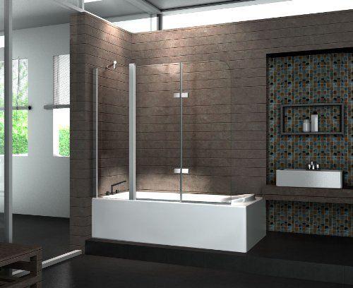 Echt Glas 6 Mm Duschabtrennung Duschwand Faltwand Badewanne 150 X 140 Cm Triple