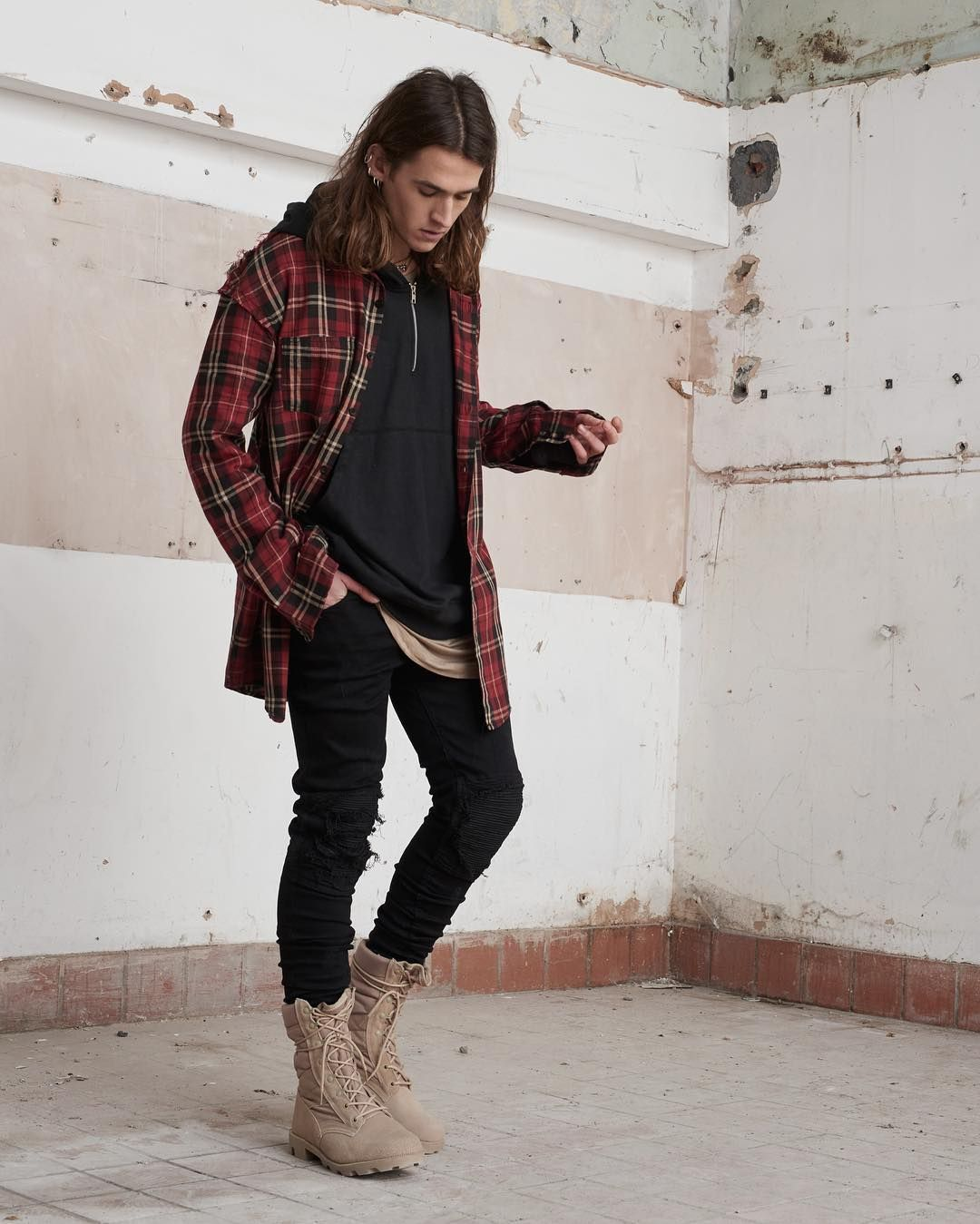 Flannel men's style  The Raw Seam Tartan Shirt The Zip Hoodie Base Layer Vest and