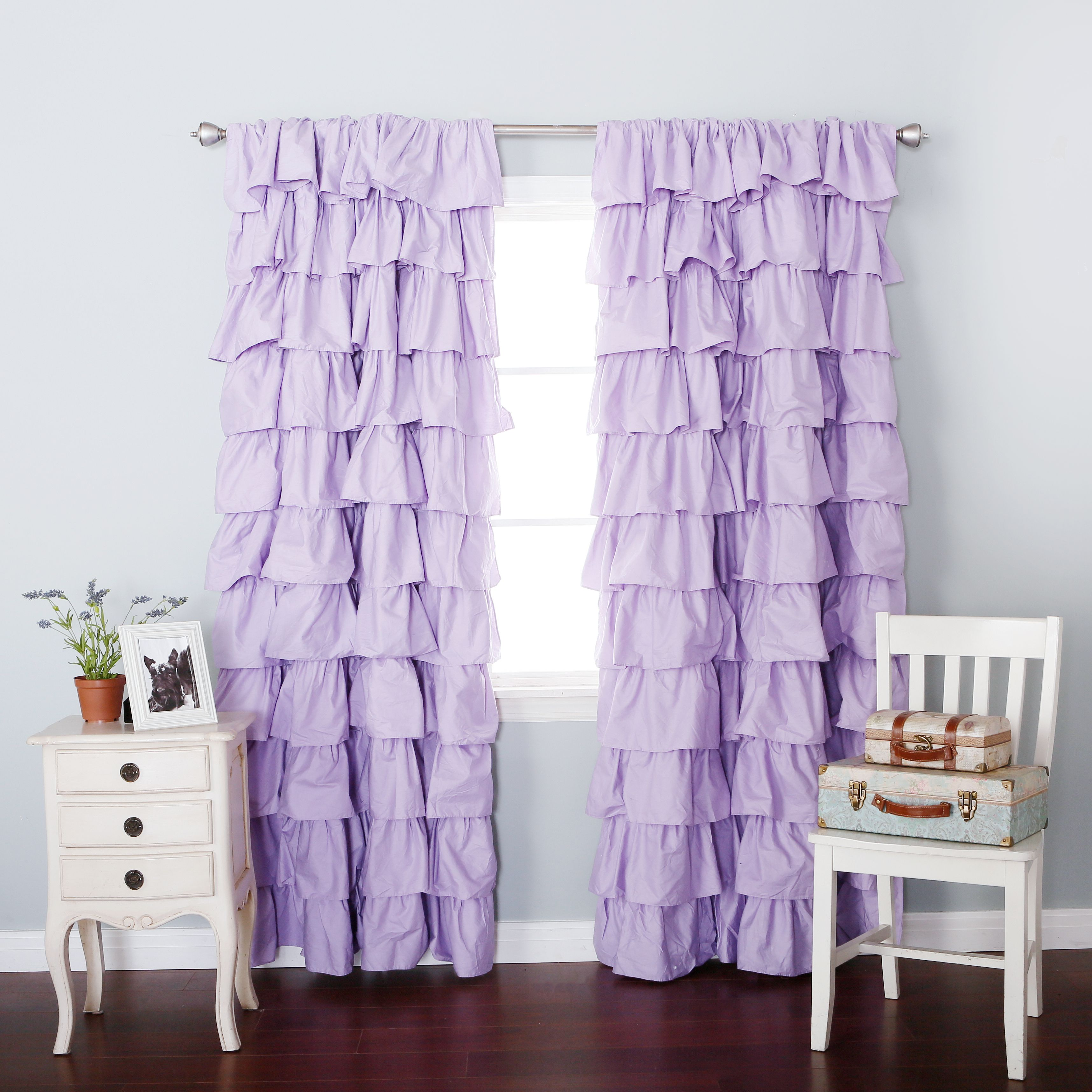 Lilac Blackout Large Waterfall Ruffle Curtain Soft And Feminine