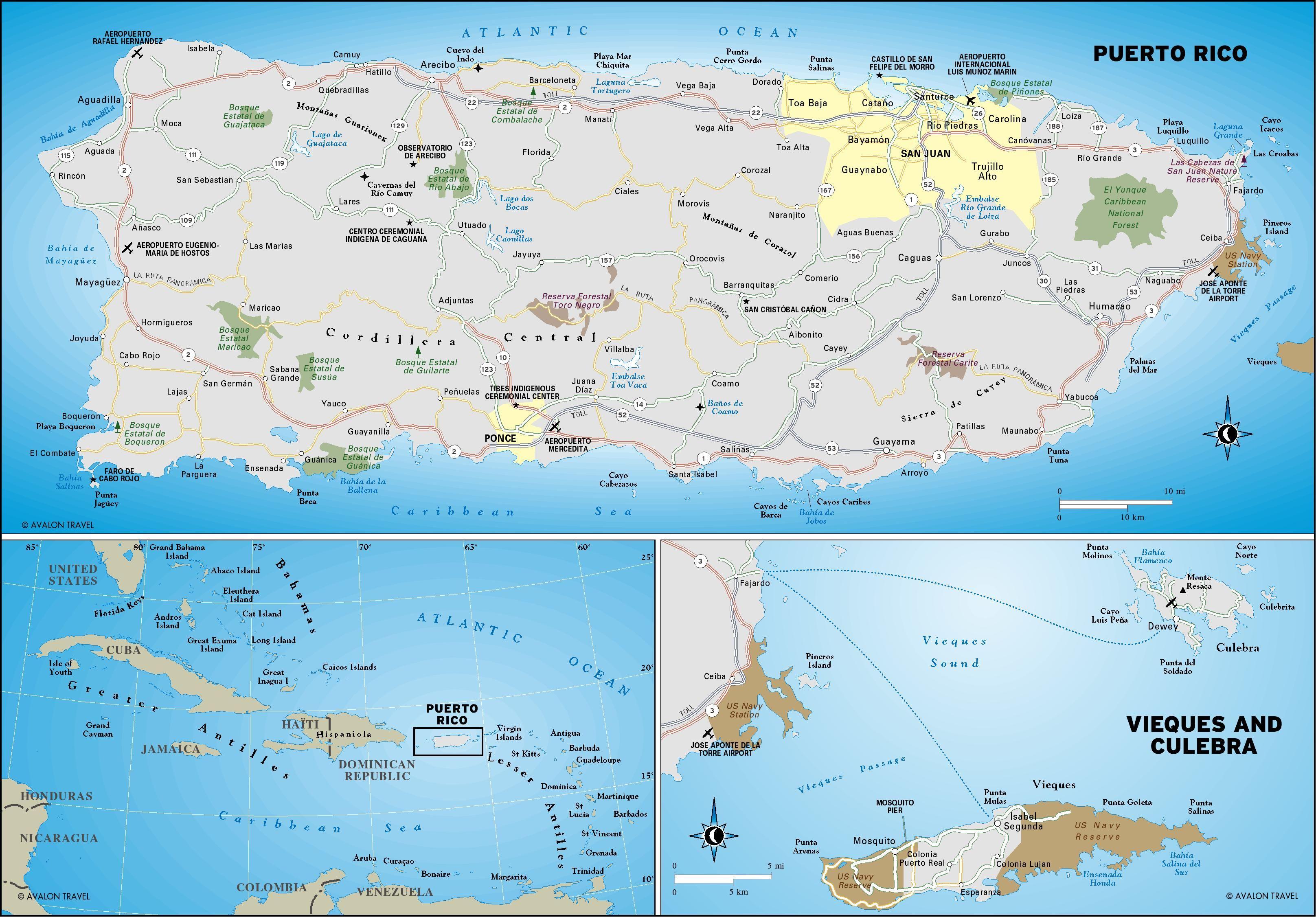 Puerto Rico Map (Geographic)   Puerto Rico   Puerto rico map ...