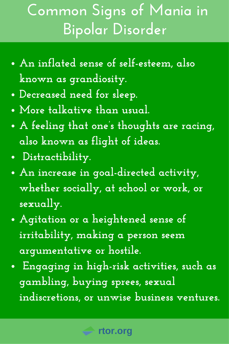 common signs of mania in bipolar disorder. it's important to know