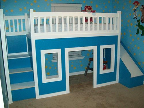 How To Build A Playhouse Loft Bed With Stairs And Slide Furniture