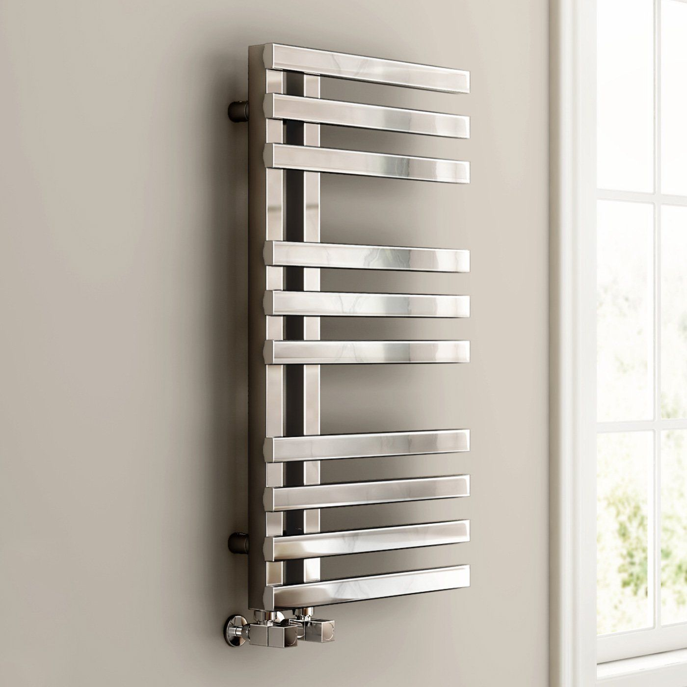 820 X 450 Designer Square Chrome Heated Towel Rail Bathroom