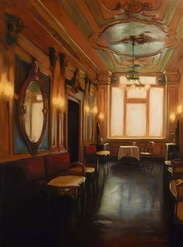 """CAFE FLORIAN"": Jonelle Summerfield, Oil on canvas, 40"" h x 30"" w."