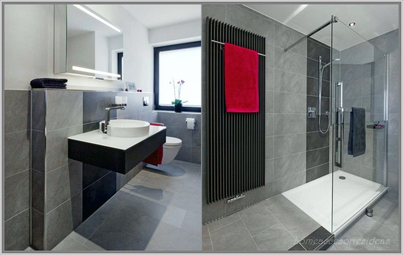 anthrazit bad mit mosaik interior design 2015 badezimmer fliesen ... - Bad Schwarz Wei Gefliest