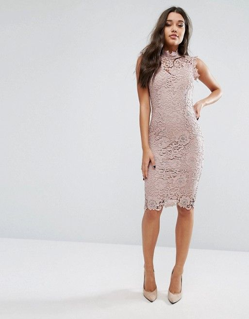 Paper Dolls High Neck Lace Midi Dress In Taupe In 2019