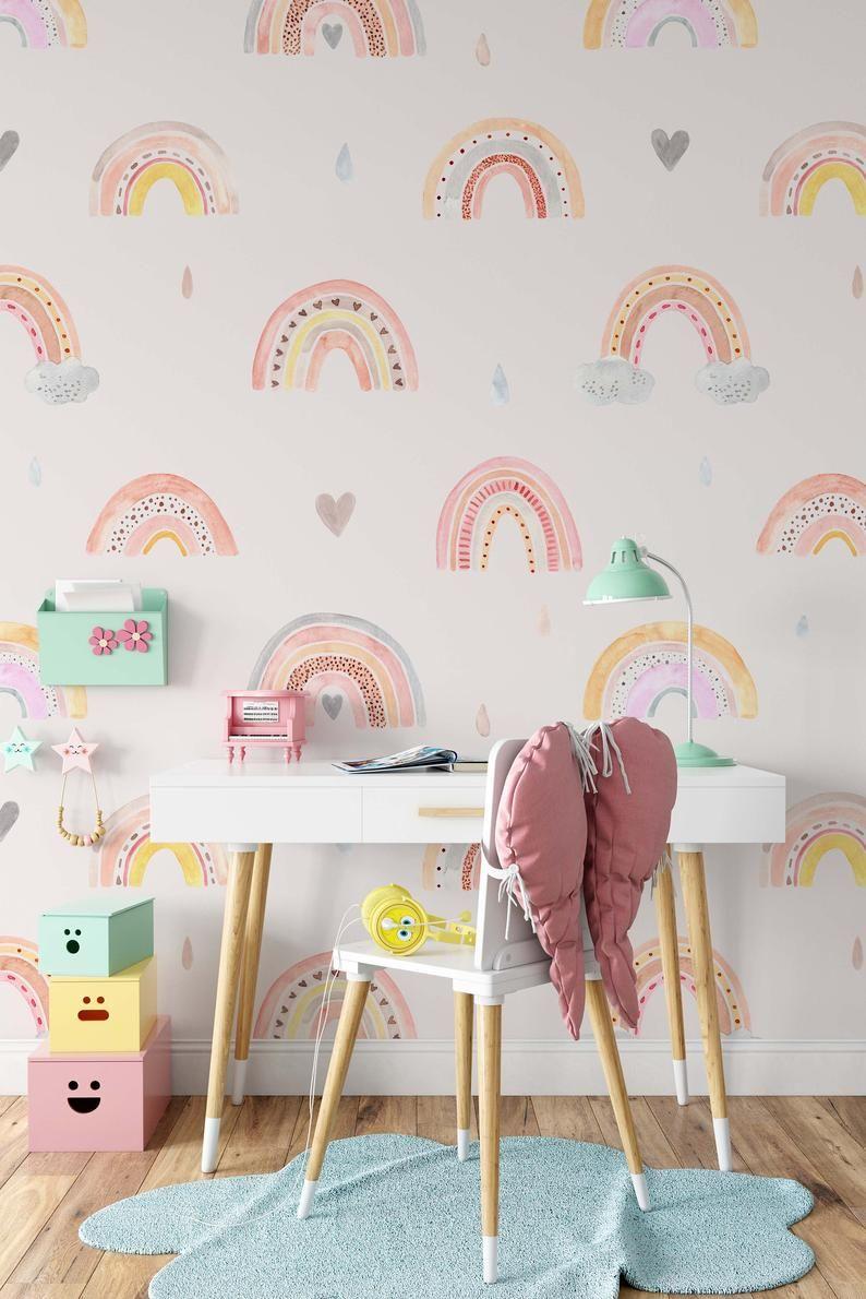 Watercolor Rainbow Rain Clouds Hearts Wallpaper Self Adhesive Peel Stick Wall Decoration Minimalistic Scandinavian Removable Kids Room Murals Girl Room Girls Room Diy
