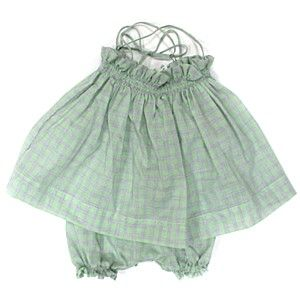 Makie Green Check Bloomer Set