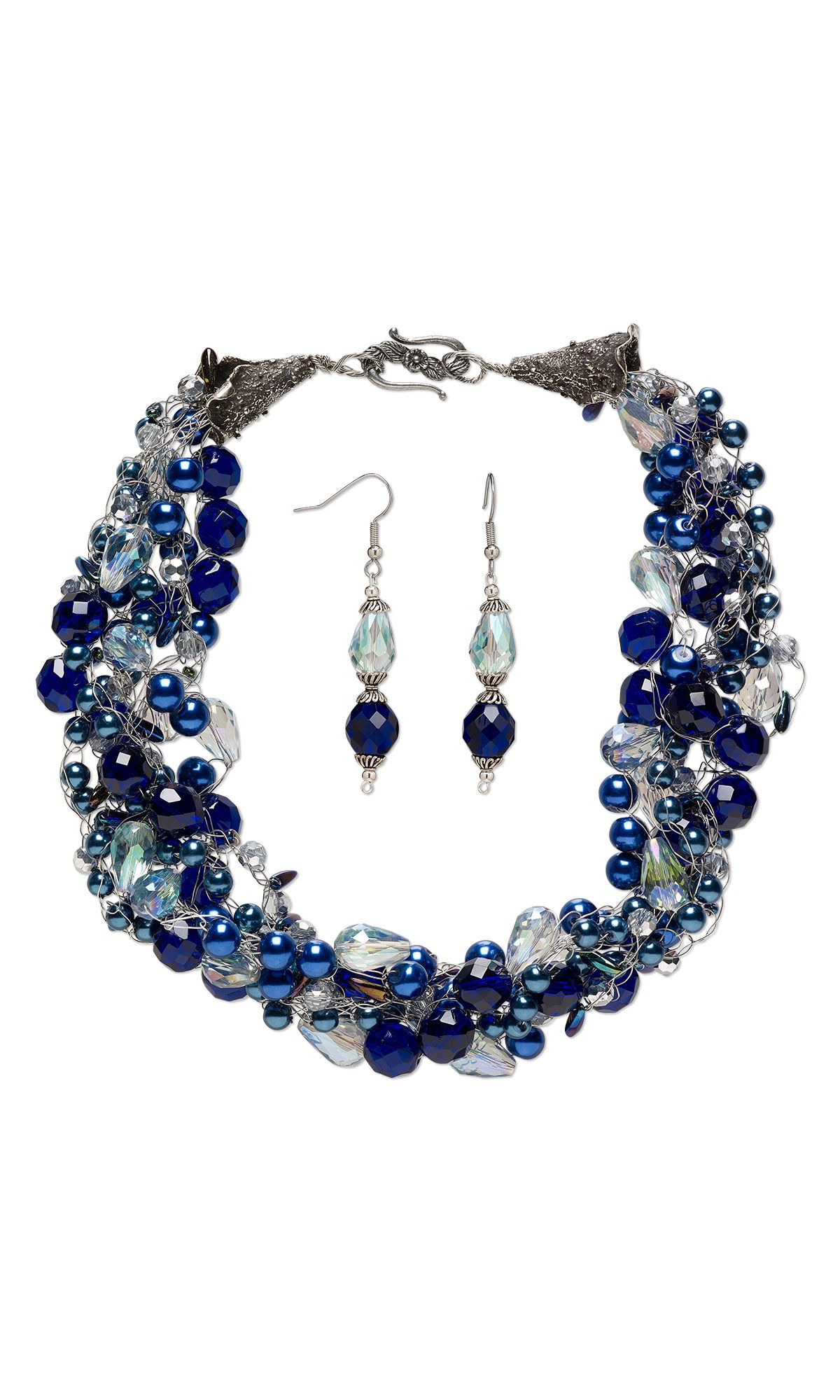 jewelry design single strand necklace and earring set with glass