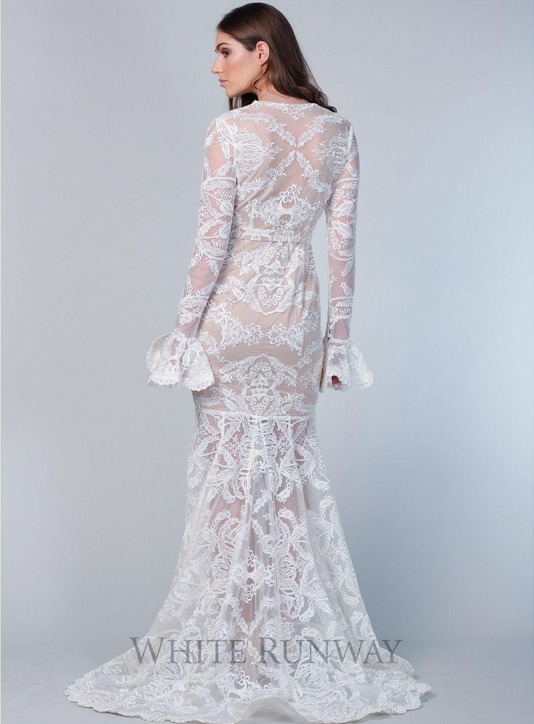 A gorgeous full length bridal gown by Sofia Cali. A long sleeve style  featuring a deep v-neckline ceb515718