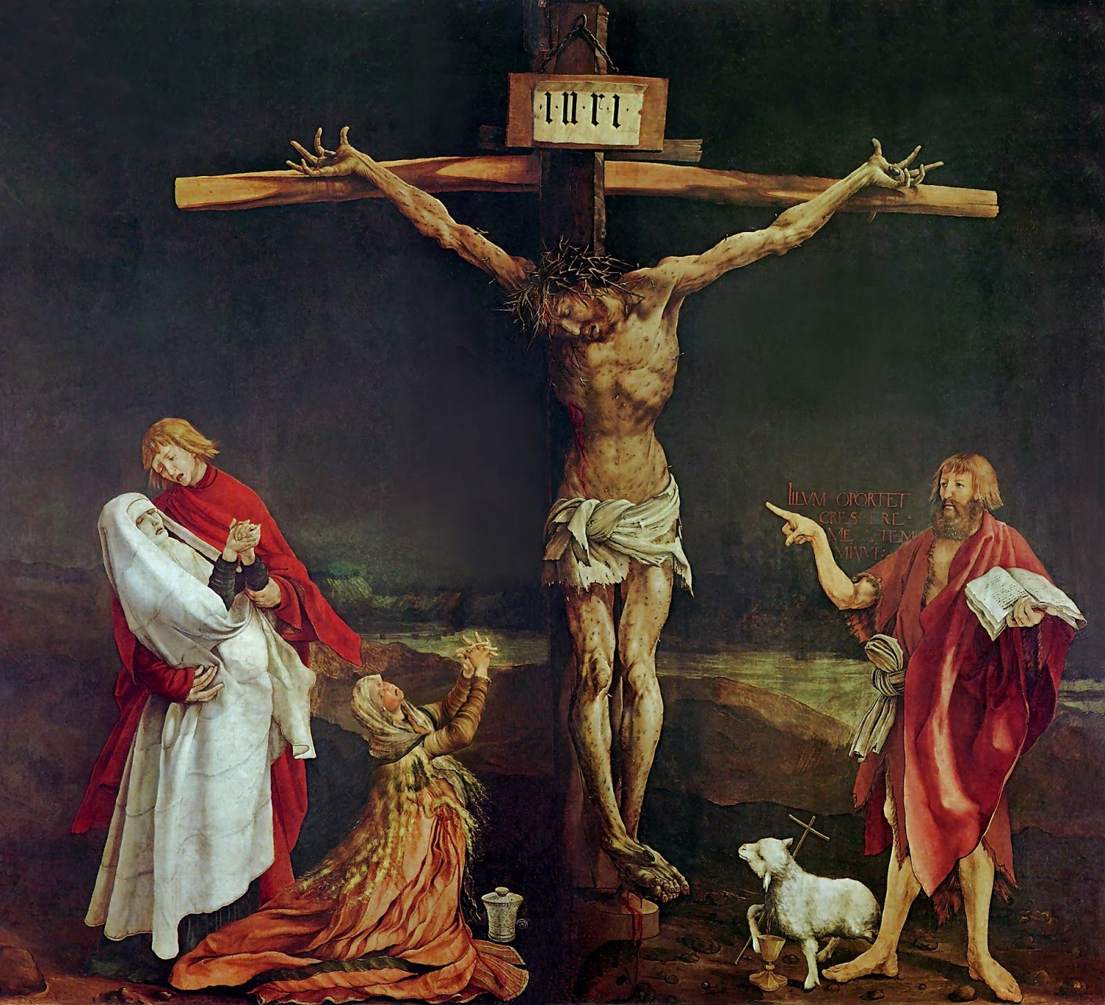 Matthias Grünewald - Crucifixion 1515. 1470-1528. Ignored Renaissance classicism and continued medieval art. German