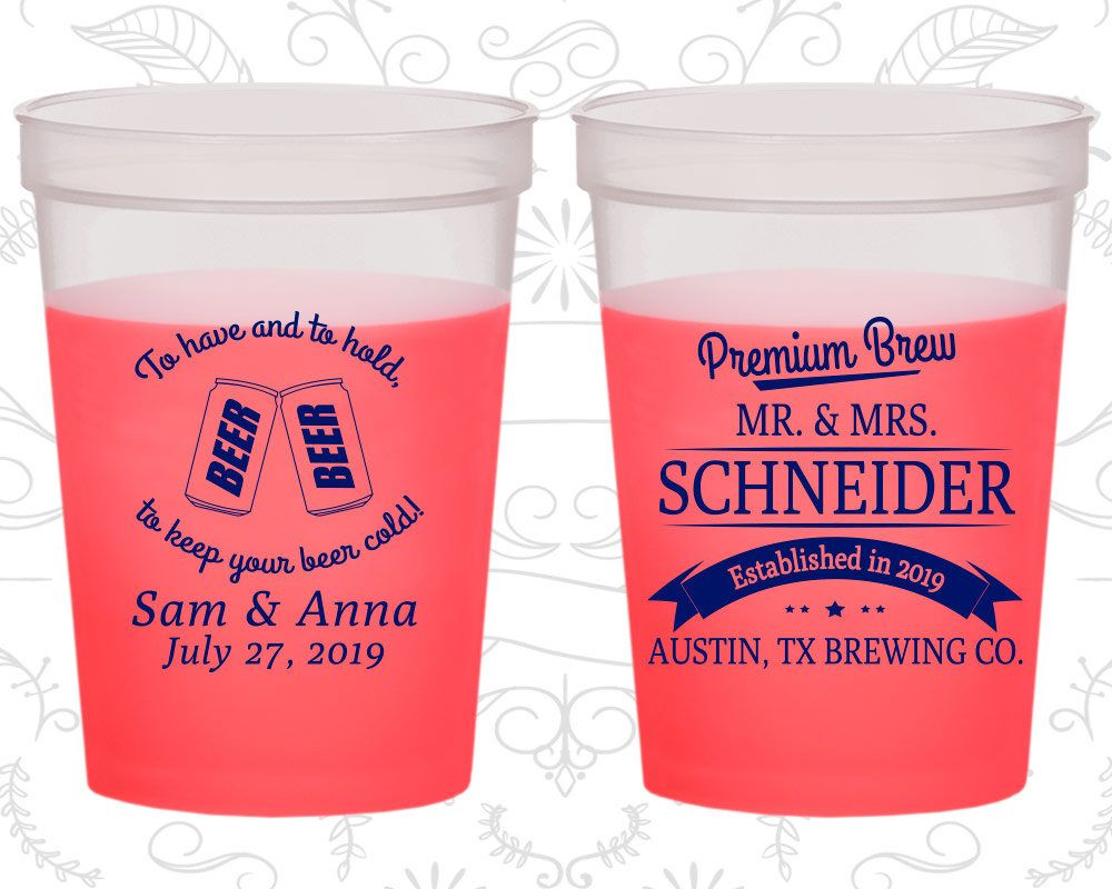 To Have and To Hold, Wedding Favor Mood Stadium Cups, Beer Wedding ...
