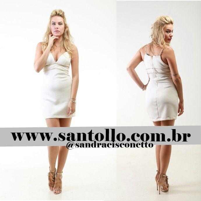 Vestinho neoprene com alças em tom dourado. Ótima opção para você curtir as baladinas nas noites de verão 2015. www.santollo.com.br ##summer2015 #verão2015 #vestidos #deuso #baladinha #trend #lovers