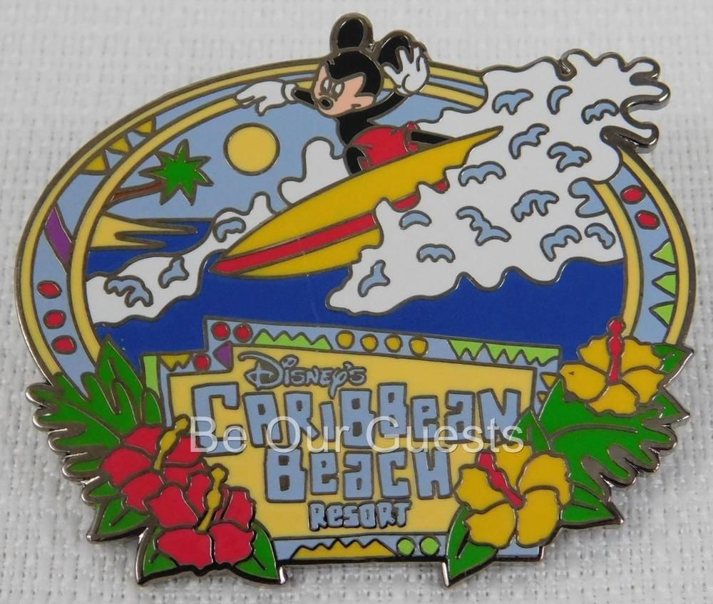 Disney Parks Caribbean Beach Resort Mickey Mouse Surfing Pin New