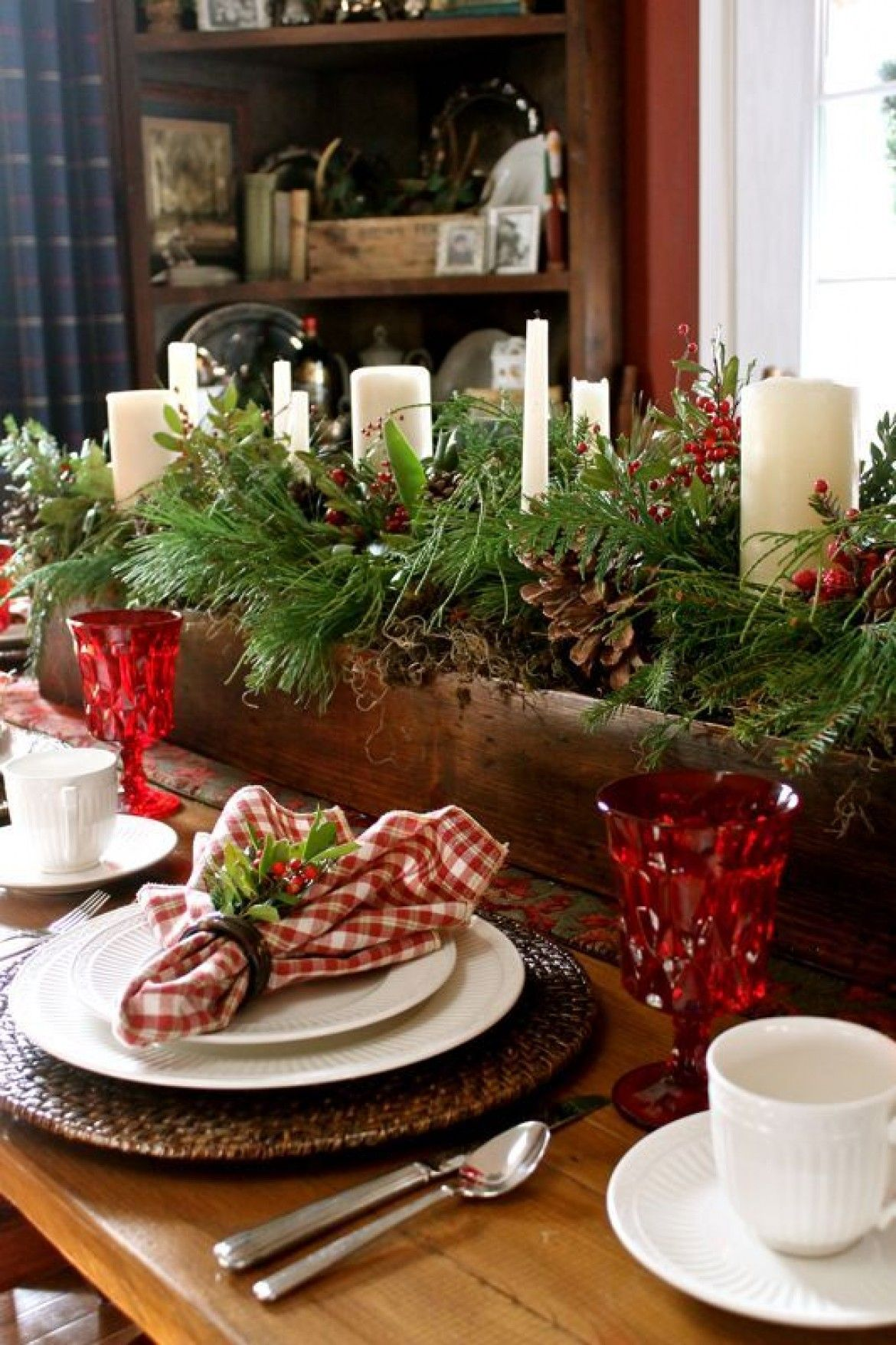 Evergreen, Pinecones And White Pillar Candles Combined For An Effortless,