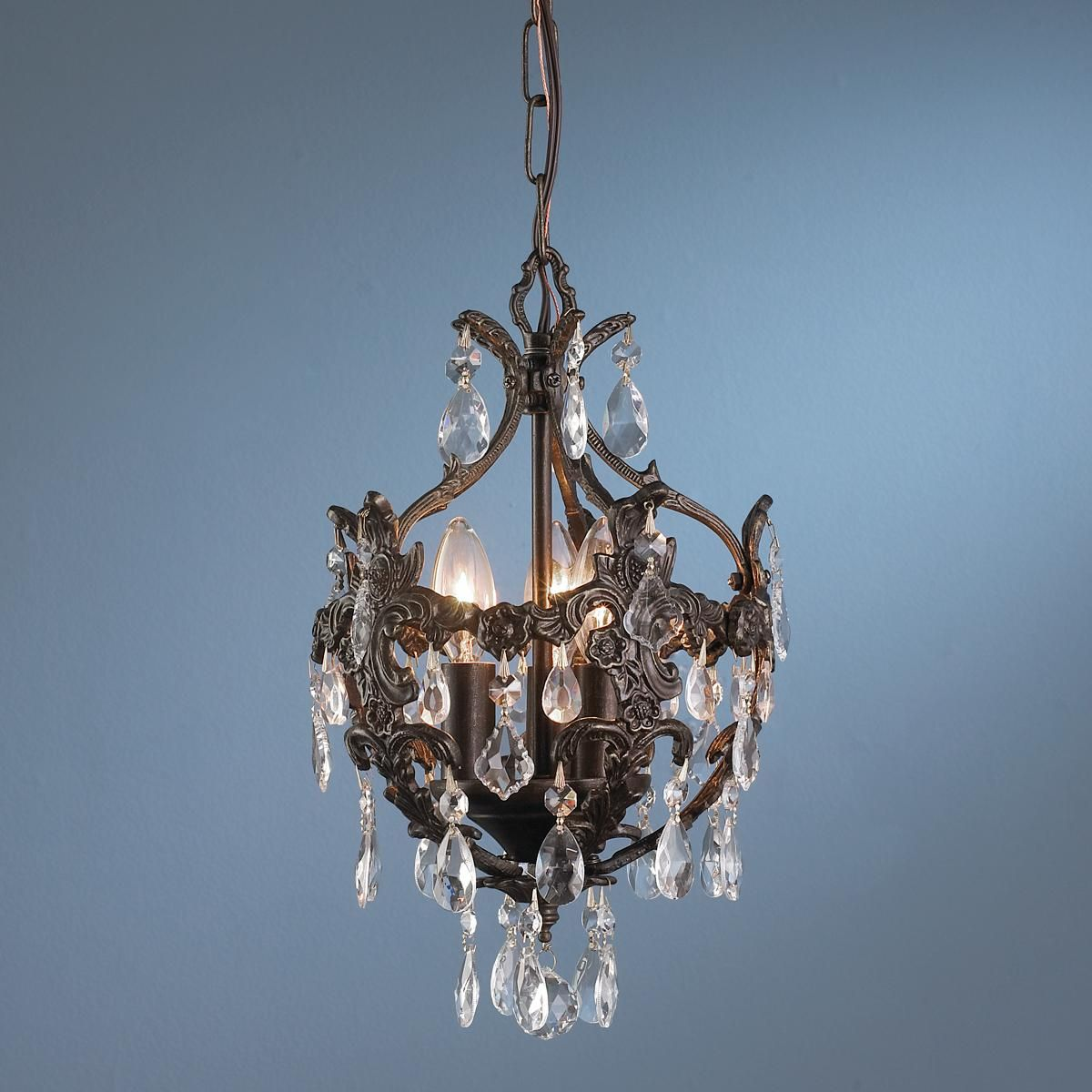 Antique Reproduction Crystal Drop Ceiling Chandelier - Antique Reproduction Crystal Drop Ceiling Chandelier. For The Powder