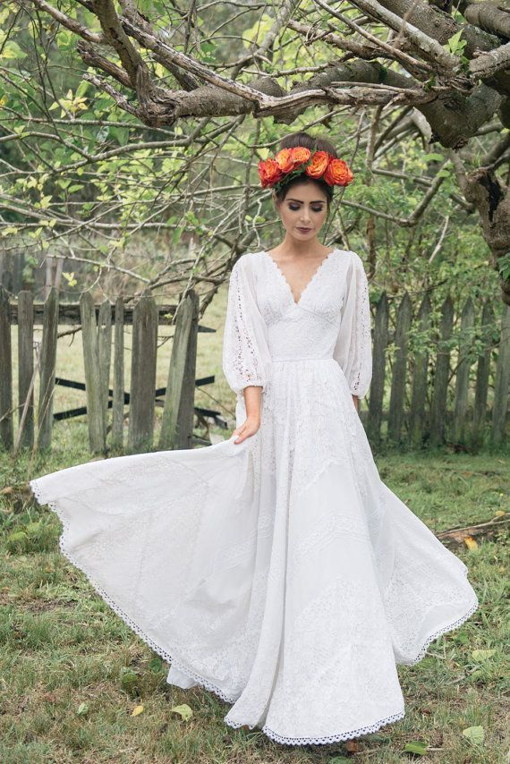 FRIDA - 1970\'s Mexican Cotton Lace Wedding Dress | Mexican Wedding ...