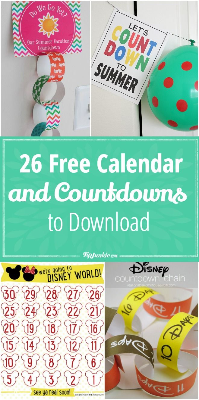 photograph about Vacation Countdown Calendar Printable referred to as 26 Cost-free Calendar and Countdowns toward Obtain for May well