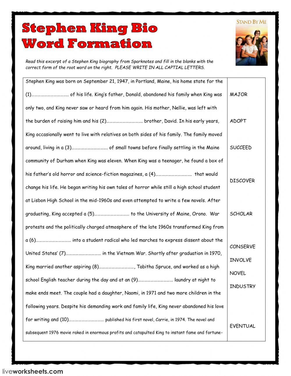 Word Formation Interactive And Downloadable Worksheet You Can Do The Exercises Online Or Download Word Formation English As A Second Language Verb Worksheets [ 1291 x 1000 Pixel ]