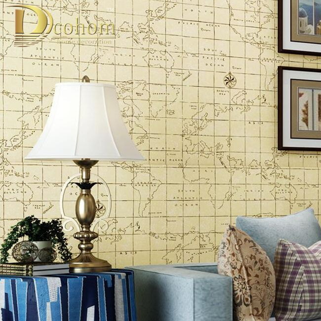 Nonwoven mediterranean lattice world map wallpaper roll living room nonwoven mediterranean lattice world map wallpaper roll living room sofa decor blue beige wall paper modern gumiabroncs Image collections