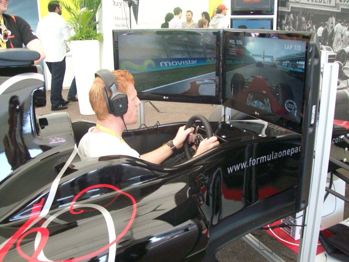 Showing some racing skills at the F1 Paddock Club! Making it fair with all help off.. #F1 #Simulator #SpanishGP #PaddockClub #Barcelona