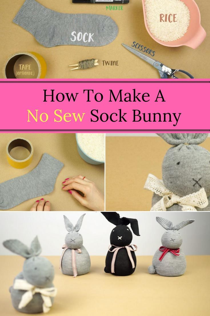 How to make a no sew sock bunny craft ideas pinterest sock how to make a no sew sock bunny negle Images