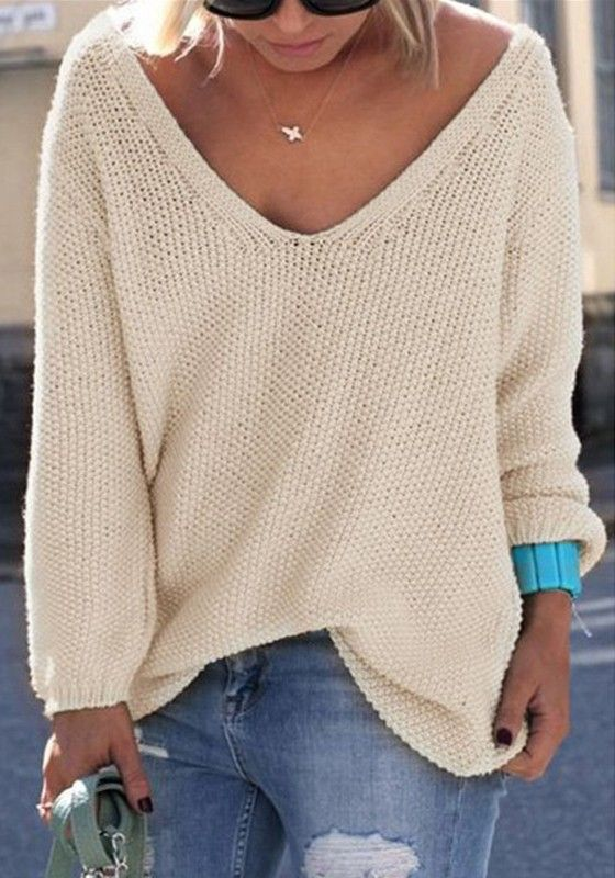 c412d25ed0b06 Beige Plain V-neck Long Sleeve Casual Loose Pullover Sweater ...