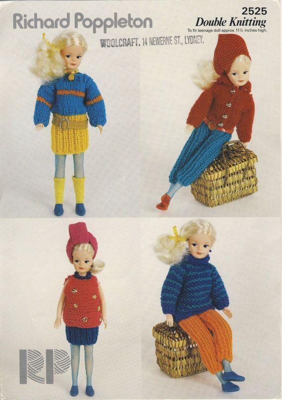 1980s Sindy Knitting Pattern Richard Poppleton 2525 Dolls
