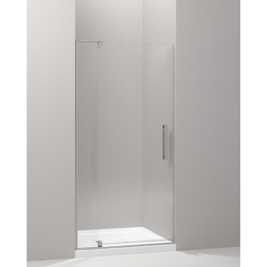 KOHLER Revel 43.125 In To 48 In Frameless Brushed Nickel Pivot Shower Door