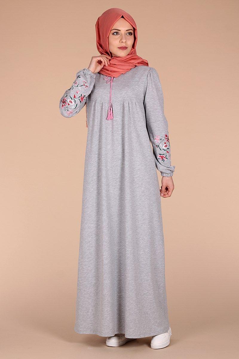 60a7976a99e1e gri tesettür penye elbise modelleri | burqa in 2019 | Elbise ...