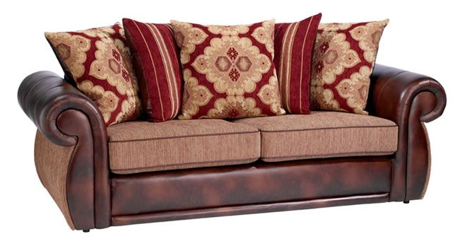 Leather Sofa With Cloth Cushions Bing