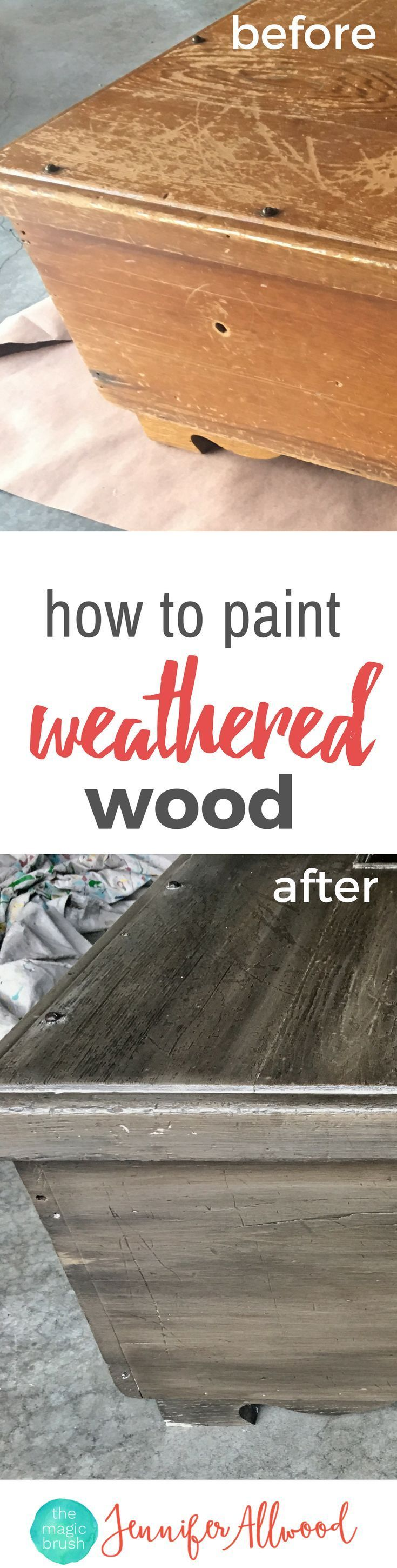 Ideas : How to paint weathered wood finish. Make any surface look like weathered barnwood and go with farmhouse decor. Painting Tips and Techniques by theMagicBrushin.com #homedecor #diy #diyhomedecor #repurpose #painting #paint #wood #paintfinish #howto #diyprojects