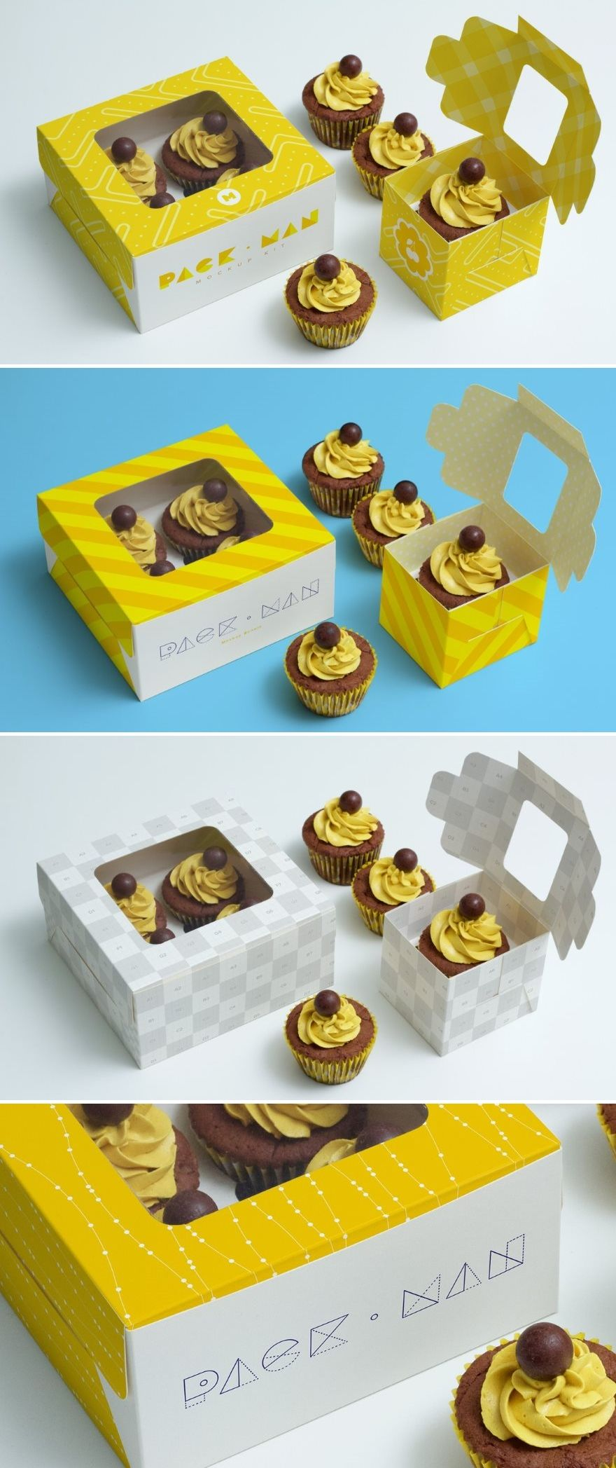 Download Download This Free Psd Mockup Of Two Beautiful Cupcake Boxes This Free Mockup Includes 2 Boxes One For 4 Cupcakes Box And On Box Mockup Design Freebie Mockup