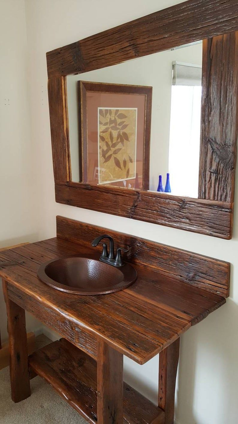 """48"""" Rustic Reclaimed barnwood vanity set. Mirror, and sink ..."""