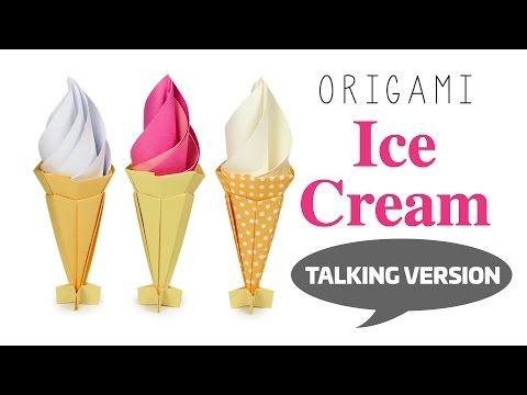 Instrucciones de Origami del cono de helado - Modular - Papel de Kawaii