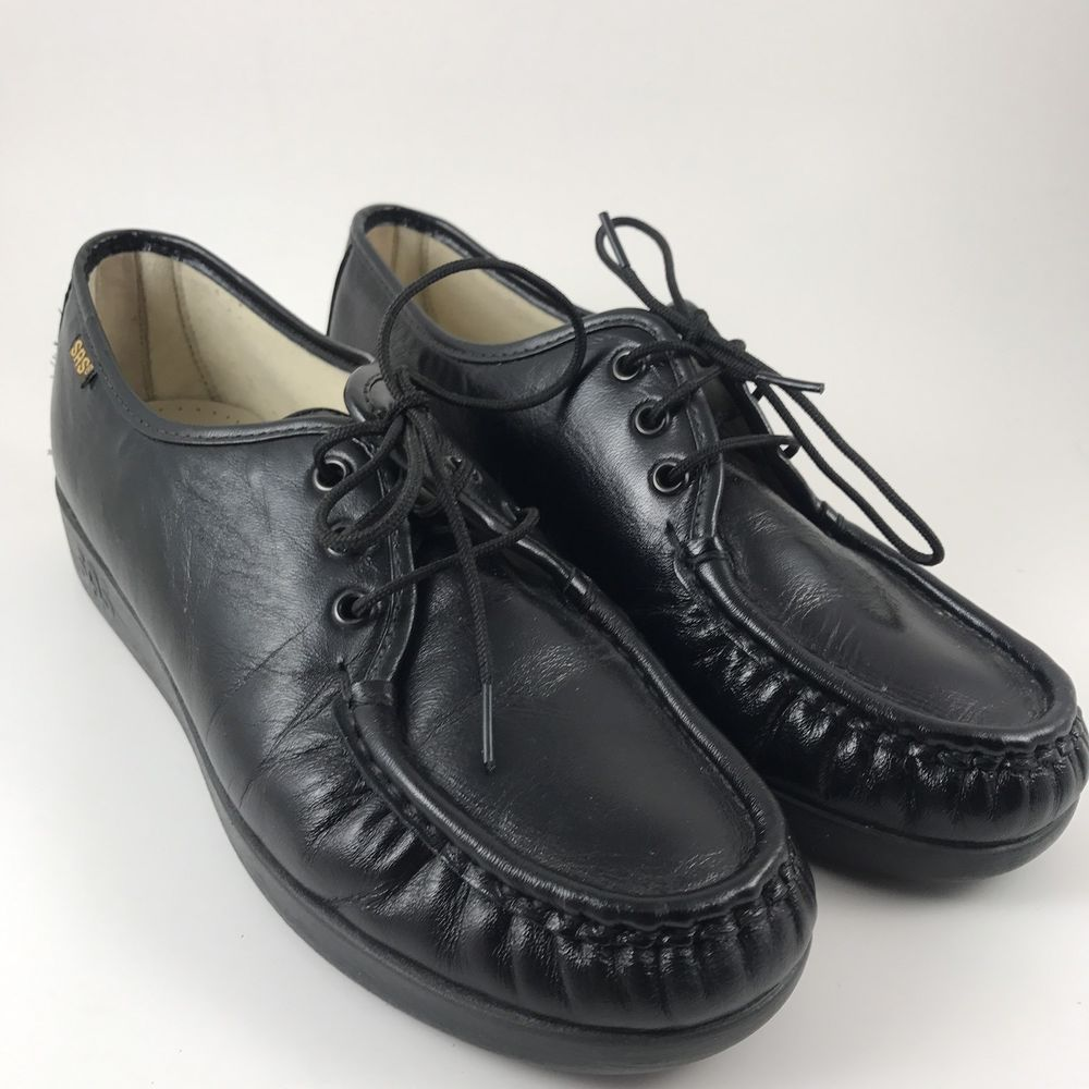 4871bde7552 SAS Women s Siesta Lace Up Shoe Black Leather Moccasin Style Size 7.5 W USA  Made