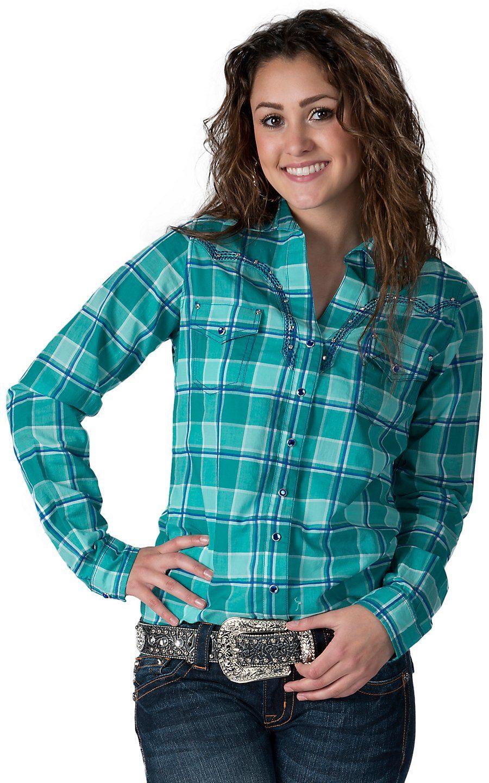 0800fab99f Rock 47 by Wrangler Women s Teal   Blue Plaid Long Sleeve Western Shirt