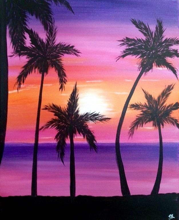 Pin By Wendy Engler On Paint Nite 2 Sunset Painting Easy Sunset Painting Silhouette Painting